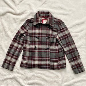 Old Navy Gray Red Plaid Wool Blend Toggle Peacoat